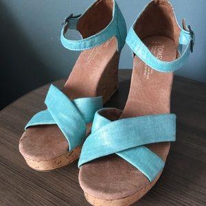TOMS Teal Sandals Size 9.5